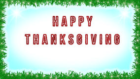 Happy Thanksgiving text written on blue and white background with lights decoration around. Card, banner Stock Photos