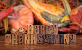 Happy Thanksgiving Banner on a Colorful Autumn Background royalty free stock photos