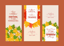 Happy Thanksgiving.Three autumn banners with colorful leaves Stock Image