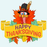 Happy thanksgiving turkey with autumn leaves Royalty Free Stock Photos