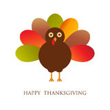 Happy Thanksgiving with turkey,  card. Happy Thanksgiving Day card with cute turkey, autumn holiday  illustration Royalty Free Stock Photos
