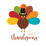 Happy Thanksgiving with turkey,  card Stock Images