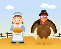 Happy Thanksgiving Turkey & Housewife Royalty Free Stock Photos