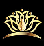 Lotus Gold Flower with Buddha Logo. Lotus gold flower with buddha praying logo symbol Holiday template icon logo vector illustration Royalty Free Stock Photography