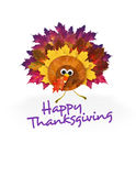 Happy Thanksgiving Turkey. Thanksgiving Turkey Invitation Art fall leaves royalty free stock photos