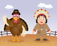 Happy Thanksgiving Turkey & Native Man Royalty Free Stock Photo