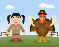 Happy Thanksgiving Turkey Native Woman Stock Images