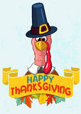 Happy thanksgiving turkey in pilgrim hat with autumn leaves Stock Images