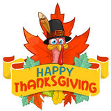 Happy thanksgiving turkey in pilgrim hat with autumn leaves Royalty Free Stock Image