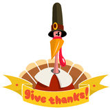 Happy thanksgiving turkey in pilgrim hat Royalty Free Stock Photography