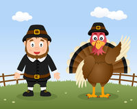 Happy Thanksgiving Turkey & Pilgrim Man Stock Photo