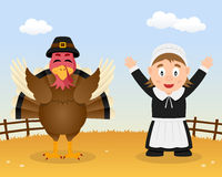 Happy Thanksgiving Turkey Pilgrim Woman Stock Photos