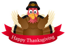 Happy Thanksgiving Turkey with Ribbon royalty free illustration