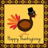 Happy Thanksgiving turkey with sunflower border.  Stock Images