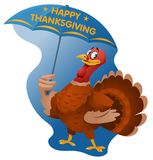 Happy Thanksgiving. Turkey with umbrella. Royalty Free Stock Photo