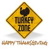 Happy Thanksgiving Turkey Zone Sign Grunge Fun. Road street feast Tday retro vintage royalty free illustration