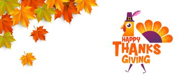 Happy thanksgiving, Typographic, cartoon character. Royalty Free Stock Photos