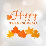 Happy thanksgiving typographic headline with maple leave on bokeh background. For poster or banner Stock Photos