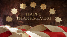 Happy Thanksgiving. Usa Flag and Chart. On Wood Royalty Free Stock Images