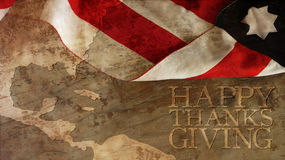 Happy Thanksgiving. Usa Flag and Chart. On Wood Stock Photos