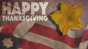 Happy Thanksgiving. Usa Flag And Flower. Happy Thanksgiving. Usa Flag And Pumpkin Flower Royalty Free Stock Photos