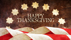 Happy Thanksgiving. Usa Flag. On Wood Royalty Free Stock Images