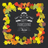Happy Thanksgiving vector card with decorative elements Royalty Free Stock Images