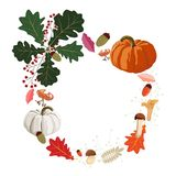 Happy Thanksgiving Vector floral watercolor style greeting card design. Autumn season invite nature. Pumpkin, oak, leaves, mushrooms, flowers and berries vector illustration