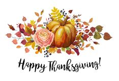 Happy Thanksgiving Vector floral watercolor style Greeting postc Royalty Free Stock Photo