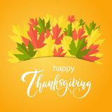 Happy Thanksgiving vector greeting card with autumn leaves. stock illustration