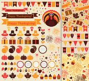 Happy Thanksgiving vector set Stock Images