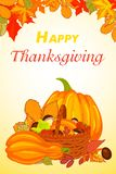 Happy thanksgiving vertical banner, cartoon style. Happy thanksgiving vertical banner. Cartoon illustration of happy thanksgiving vector vertical banner for web vector illustration
