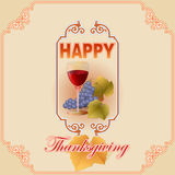 Happy Thanksgiving, vintage, graphic background with glass of wine Royalty Free Stock Photography