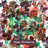 Happy thanksgiving watercolor greeting card with abstract flower. S stock illustration