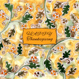 Happy thanksgiving watercolor greeting card with green and orang. E autumn leaves Stock Image