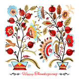 Happy thanksgiving watercolor greeting card with red berries and. Golden leaves stock illustration