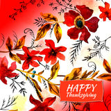 Happy thanksgiving watercolor greeting card with red flowers. And golden autumn leaves royalty free illustration