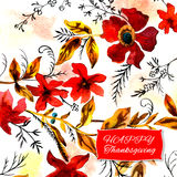 Happy thanksgiving watercolor greeting card with red flowers and. Golden autumn leaves vector illustration