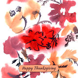 Happy thanksgiving watercolor greeting card with red flowers and. Orange autumn leaves vector illustration