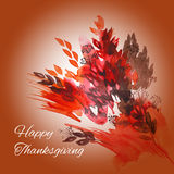 Happy thanksgiving watercolor greeting card. With red and orange autumn leaves royalty free illustration