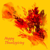 Happy thanksgiving watercolor greeting card with red and orange. Autumn leaves royalty free illustration