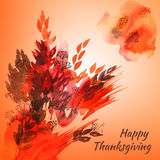 Happy thanksgiving watercolor greeting card with red and orange. Autumn leaves stock illustration