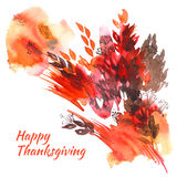 Happy thanksgiving watercolor greeting card. With red and orange autumn leaves vector illustration