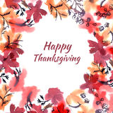 Happy thanksgiving watercolor greeting card. Round floral frame. In red colors royalty free illustration