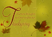 Happy Thanksgiving Wishes. Thanksgiving Greetings, Thanksgiving wishes on an autumn illustration with leaves and floral ornaments on a green background Stock Photography