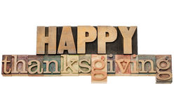 Happy Thanksgiving in wood type Royalty Free Stock Image