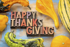Happy Thanksgiving in wood type Royalty Free Stock Photography