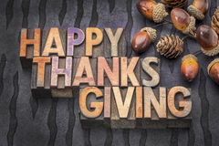 Happy Thanksgiving in wood type Royalty Free Stock Photos