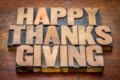 Happy Thanksgiving in wood type Stock Photography
