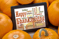Happy Thanksgiving word cloud Royalty Free Stock Photos